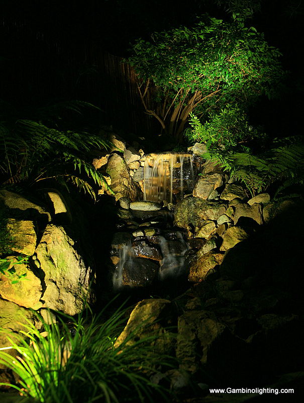 Gambino Landscape Lighting Led Pond And Waterfall Lighting In Pacific Palisades California