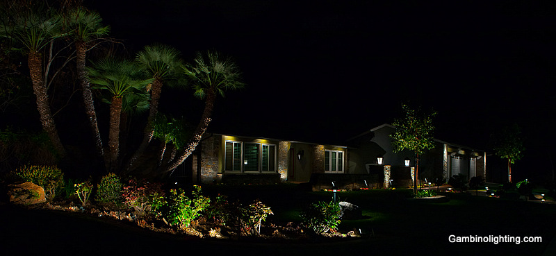This Gambino lighting system was designed and built in 1995 and has been regularly maintained by Gambino landscape lighting. Photo taken spring 2013