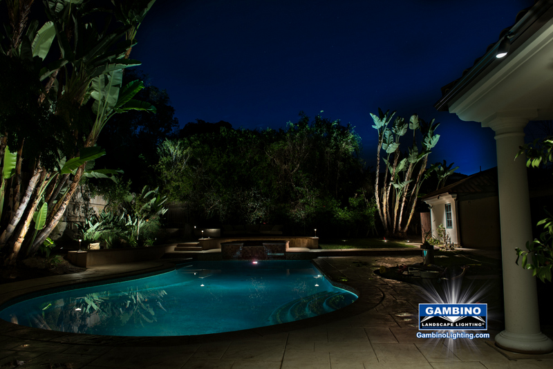 With the addition of some soft fill lighting to the right side of the pool this night scene really comes alive